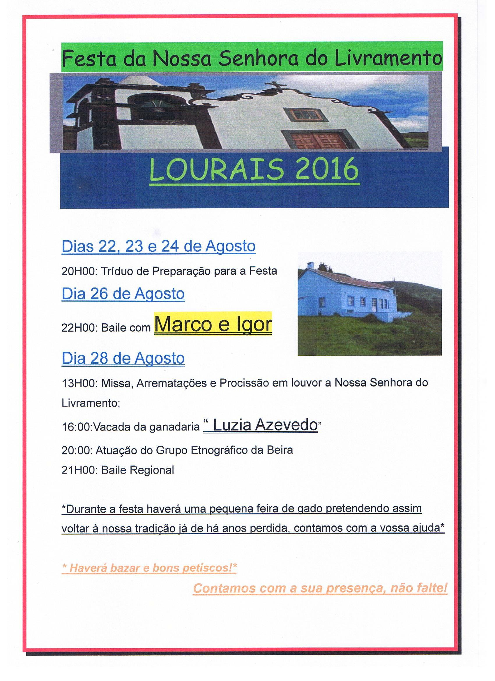 LOURAL EM FESTA – ILHA DE SÃO JORGE (26 e 28 de Agosto)