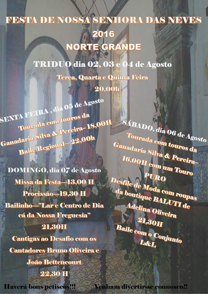 FESTA DE NOSSA SENHORA DAS NEVES – NORTE GRANDE – (Ilha de São Jorge) (5 a 7 de Agosto)