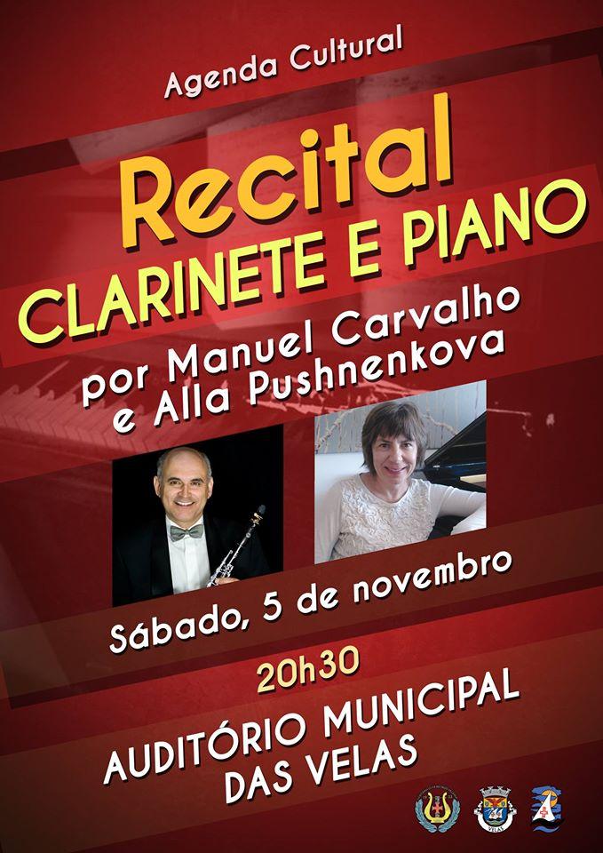 RECITAL DE CLARINETE E PIANO – AUDITÓRIO MUNICIPAL DAS VELAS – Hoje Sábado dia 5 / Nov.