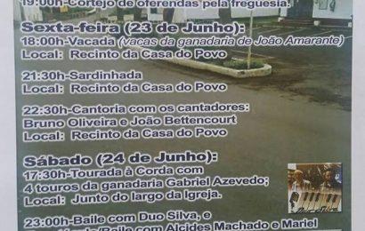 FESTA DE SÃO JOÃO BAPTISTA (22 a 25 de Junho) – Casa do Povo de Santo Amaro – Ilha de São Jorge