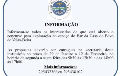 CASA DO POVO DE VELAS ABRE CANDIDATURA PARA EXPLORAÇÃO DE BAR – Beira / Velas – Ilha de São Jorge